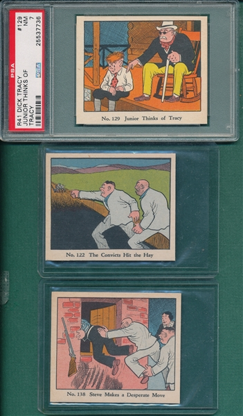 1937 R41 Dick Tracy Lot of (3) W/ #129 PSA 7