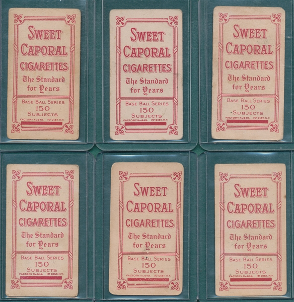1909-1911 T206 Lot of (6) Sweet Caporal Cigarettes *Factory 649* W/ Powers