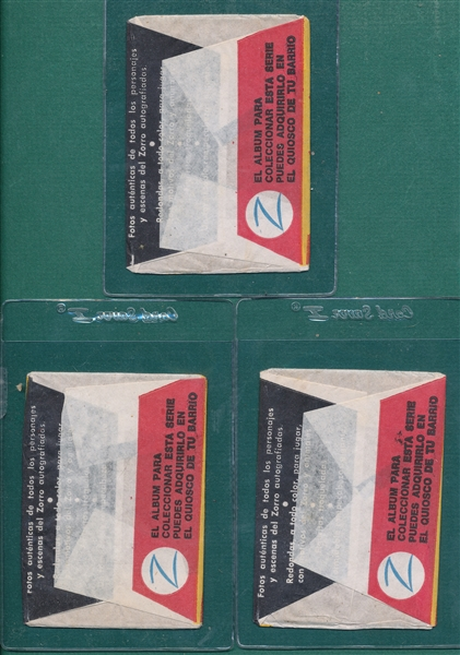 1958 Argentina Zorro Wrappers Lot of (3)
