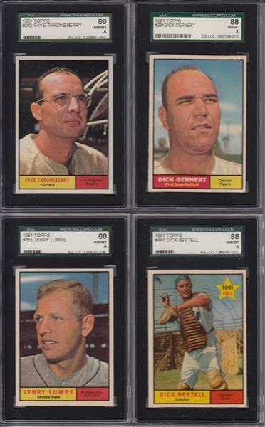 1961 Topps Lot of (4) W/ #282 Thorneberry SGC 88