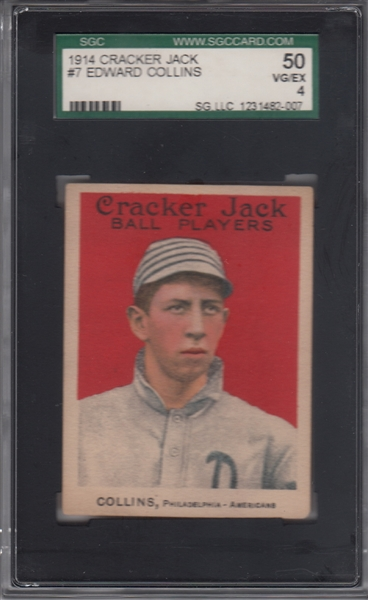 1914 Cracker Jack #7 Eddie Collins SGC 50
