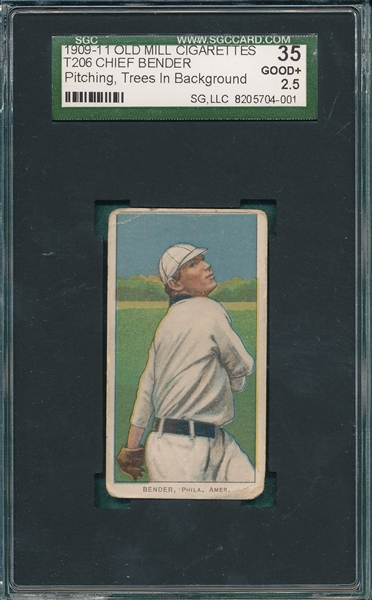1909-1911 T206 Bender, Pitching, Trees, Old Mill Cigarettes SGC 35