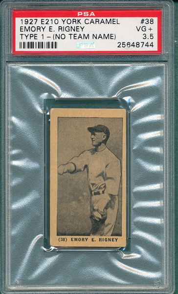 1927 E210-1 #38 Emory Rigney, No Team Name on Jersey, York Caramels PSA 3.5