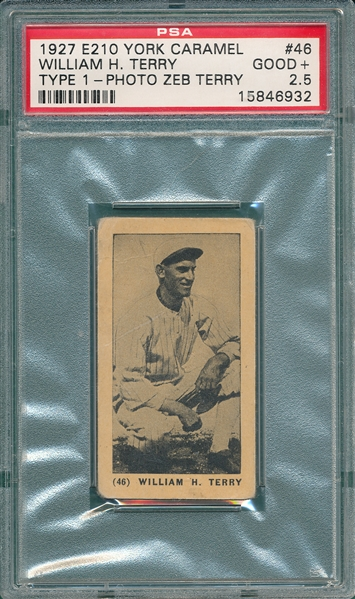 1927 E210-1 #46 William Terry York Caramels PSA 2.5