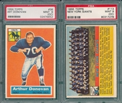 1956 Topps FB #113 NY Giants & #36 Donovan, Lot of (2), PSA 9 (OC)