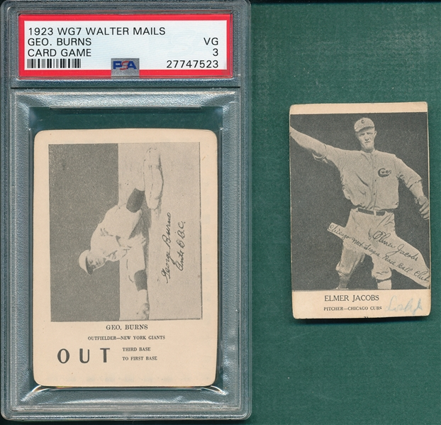 1923 WG7 Jacobs & Burns, Walter Mails Card Game, Lot of (2) PSA
