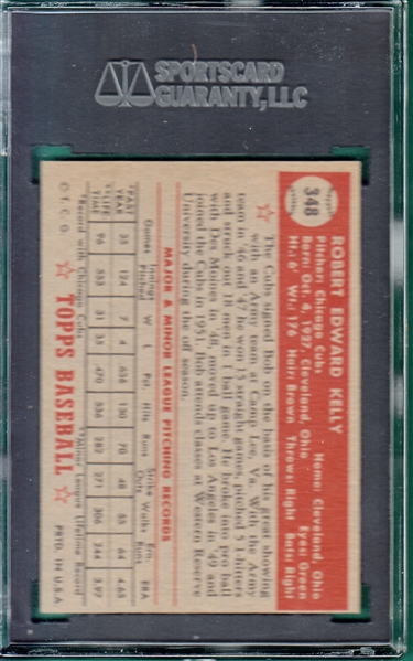 1952 Topps #348 Bob Kelly SGC Authentic *Hi #*