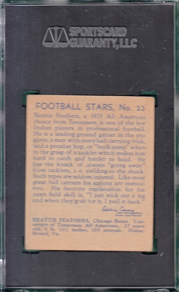 1935 National Chicle #23 Beattie Feathers SGC 50
