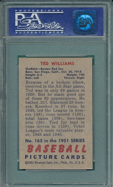 1951 Bowman #165 Ted Williams PSA 6