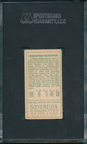 1911 T205 Christy Mathewson Sovereign Cigarettes SGC 50