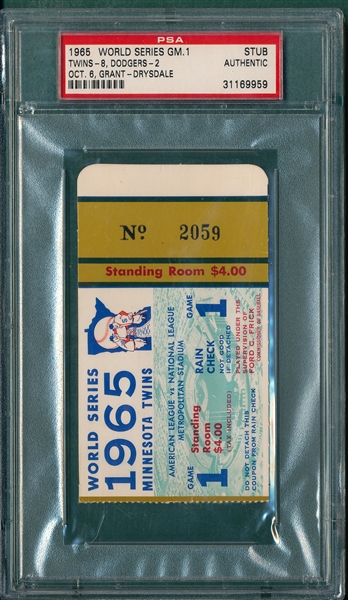 1965 WS Game 1 Twins vs Dodgers, Ticket Stub, PSA Authentic