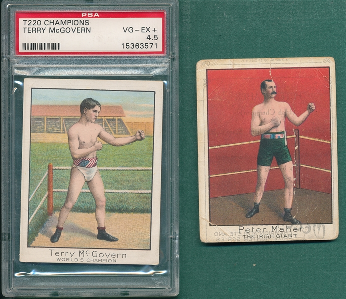 1910 T220 Champions Maher & McGovern PSA 4.5, Lot of (2) Mecca Cigarettes