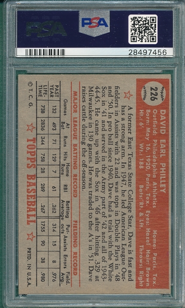 1952 Topps #226 Dave Philley PSA 7