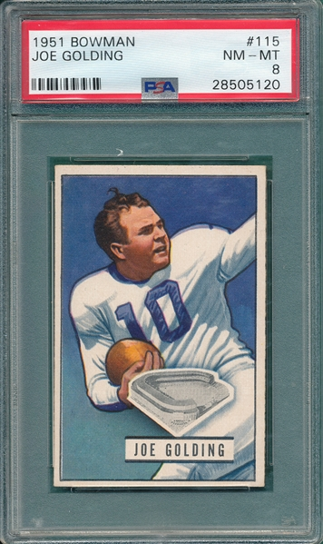 1951 Bowman FB #115 Joe Goldring PSA 8