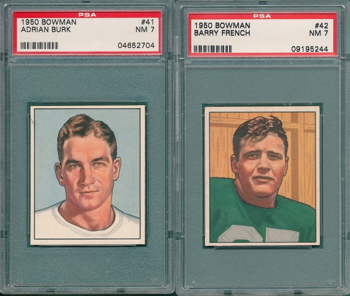 1950 Bowman FB #41 Burk & #42 French, Lot of (2) PSA 7