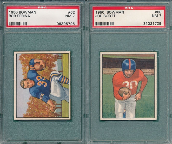 1950 Bowman FB #62 Perina & #68 Scott, Lot of (2) PSA 7