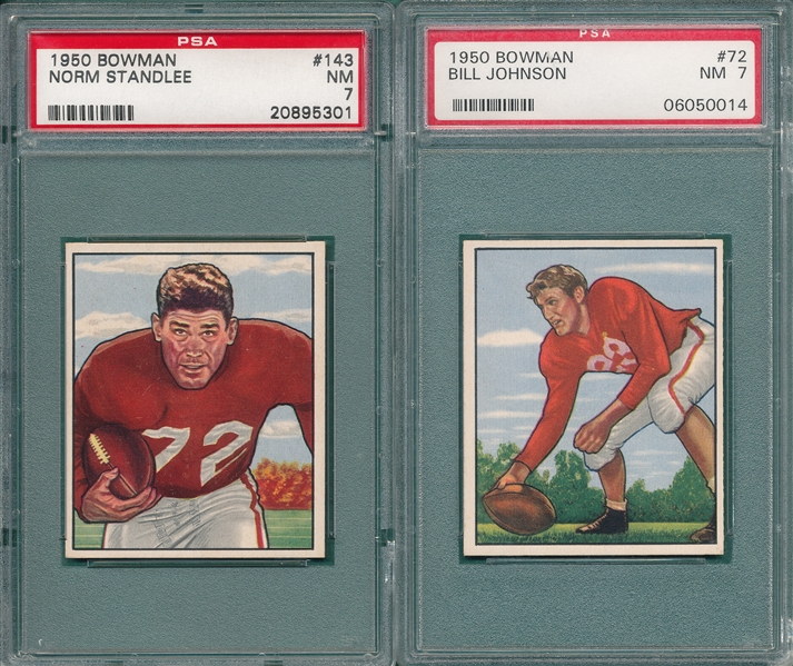 1950 Bowman FB #72 Johnson & #143 Standlee, Lot of (2) PSA 7