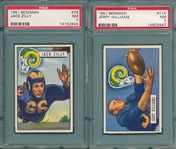 1951 Bowman FB #78 Zilly & #114 Williams, Lot of (2) PSA 7