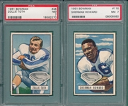 1951 Bowman FB #45 Toth & #116 Howard, Lot of (2) PSA 7