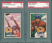 1951 Bowman FB #92 Schellbacher & #127 Price, Lot of (2) PSA 7
