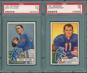 1951 Bowman FB #14 Bob Williams & #85 Rykovich, Lot of (2) PSA 7