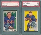 1951 Bowman FB #86 Davis & #87 Hoffman, Lot of (2) PSA 7