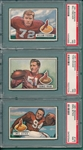 1951 Bowman FB #64 Wham, #65 Fischer & #139 Sitko, Lot of (3) PSA 7