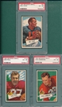 1952 Bowman Small FB #87 Cook, #103 Paul & #110 Simmons, Lot of (3) PSA 6