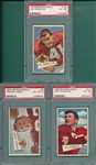 1952 Bowman Small FB #5 Albert, #117 Donahue & #125 Nomellini, Lot of (3) PSA 6