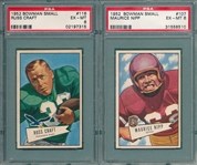 1952 Bowman Small FB #107 Nipp & #116 Craft, Lot of (2) PSA 6
