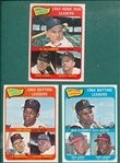 1965 Topps #1 AL Batting, #2 NL Batting Leaders W/ Clemente/Aaron & #3 AL HR Leaders W/ Mantle, Lot of (3)