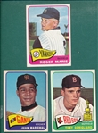 1965 Topps #50 Marichal, #55 Tony Conigliaro & #155 Maris, Lot of (3)