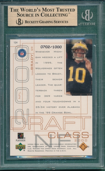 2000 Upper Deck UD Pros & Prospects #124 Tom Brady, Beckett 9.5 *Rookie*