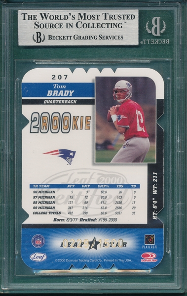 2000 Leaf Certified, Rookie Die Cuts, #207 Tom Brady, Beckett 9 *Rookie*