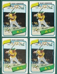 1980 Topps #482 Rickey Henderson, Rookie, Lot of (4)