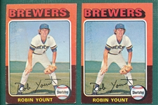 1975 Topps Mini #223 Robin Yount, Rookie, Lot of (2)