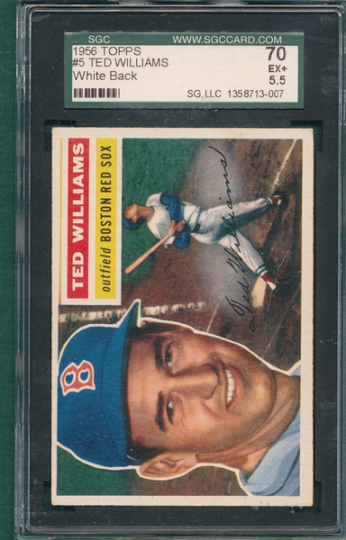 1956 Topps #5 Ted Williams SGC 70 *White*
