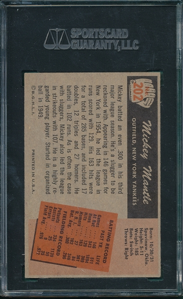 1955 Bowman #202 Mickey Mantle SGC 55