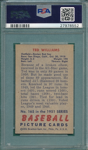 1951 Bowman #165 Ted Williams PSA 7