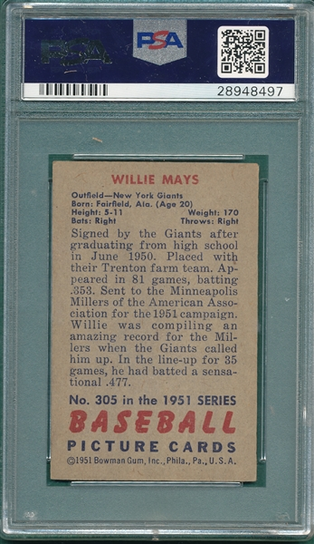 1951 Bowman #305 Willie Mays PSA Authentic *High #* *Rookie*