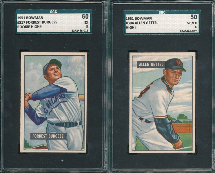 1951 Bowman #304 Gettel & #317 Burgess, Lot of (2) SGC *Hi #*