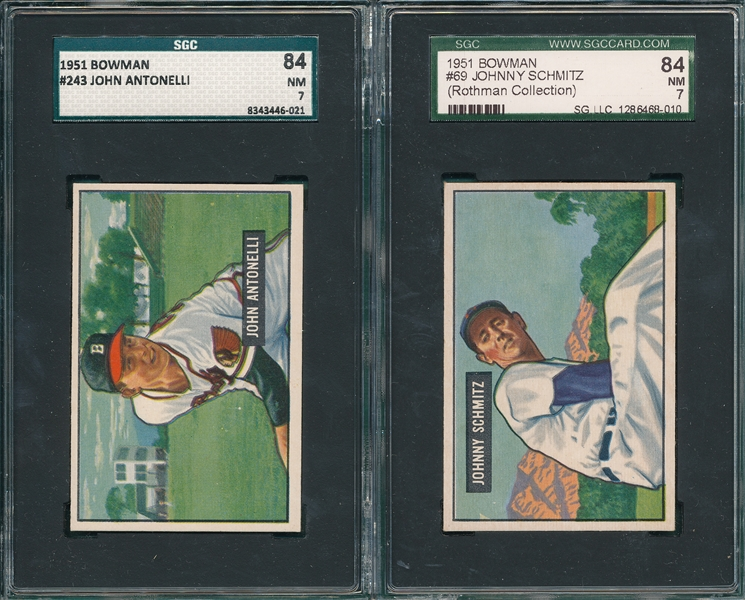 1951 Bowman #69 Schmitz & #243 Antonelli, Lot of (2) SGC 84
