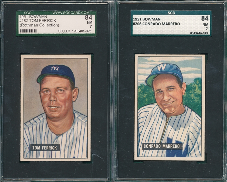 1951 Bowman #182 Ferrick & #206 Marrero, Lot of (2) SGC 84