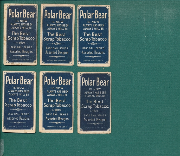 1909-1911 T206 Lot of (6) Polar Bear W/ Carrigan