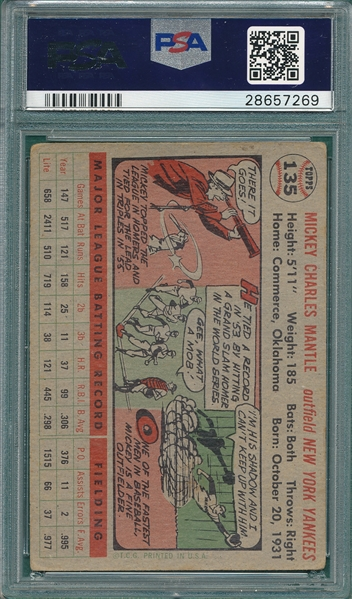 1956 Topps #135 Mickey Mantle PSA 3 *Gray*