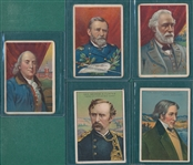 1910s T68 Heroes of History Royal Bengals Little Cigars W/ Gen. Lee, (5) Card Lot