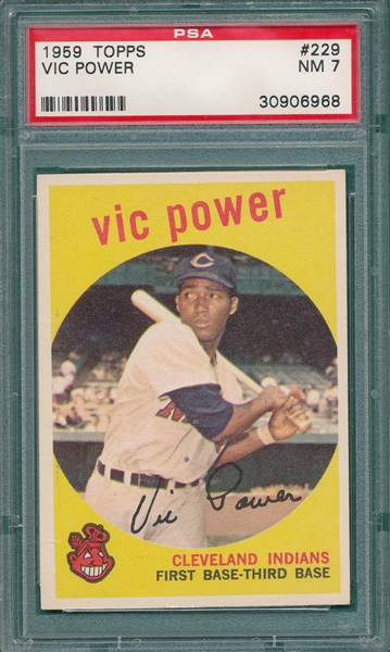 1959 Topps #229 Vic Powers PSA 7