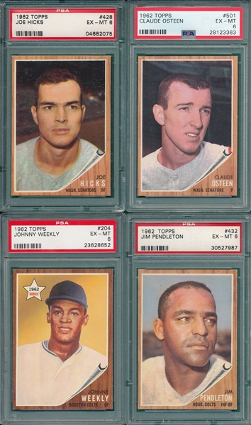 1962 Topps Lot of (8) PSA 6 W/ #204 Weekly