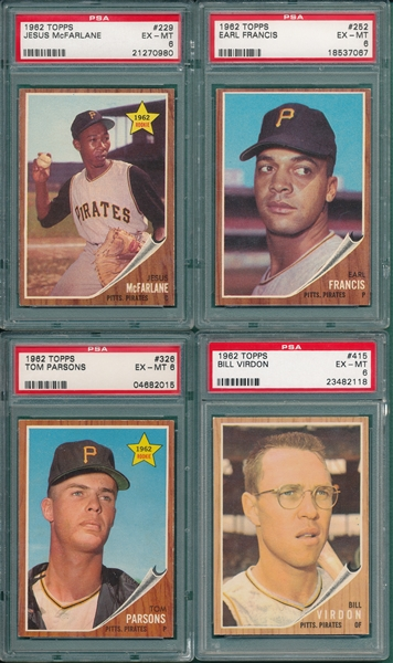 1962 Topps Lot of (8) PSA 6 W/ #165 Brandt