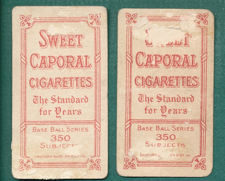 1909-1911 T206 Flick & G. Davis, Lot of (2), Sweet Caporal Cigarettes